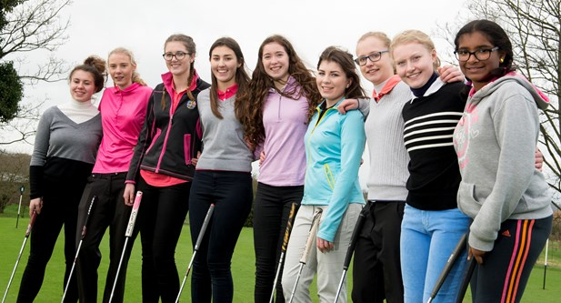 Group of girl golfers from Notts Girls Golf Rocks project