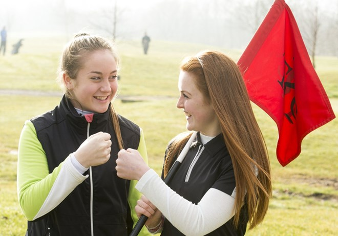 Essex Girls Golf Rocks - Girls holding flag