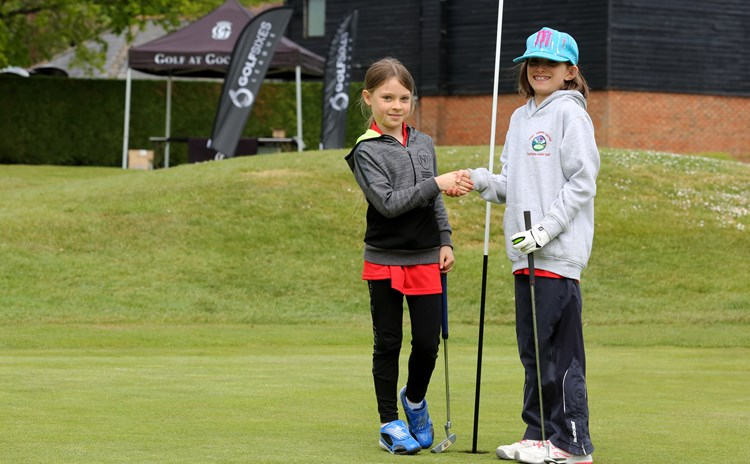 Golf Sixes Goodwood Girls shaking hands.JPG